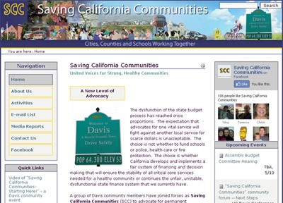 SimpleSite: Saving California Communities Website